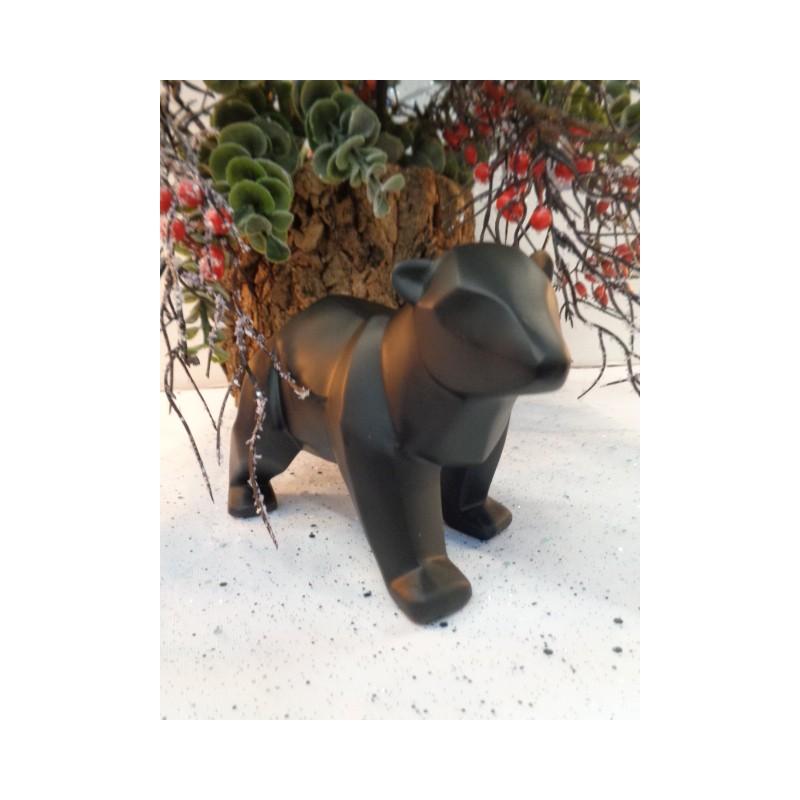 Meubles Patines et Objets, savoie Bassens 73, Statue origami ours noire