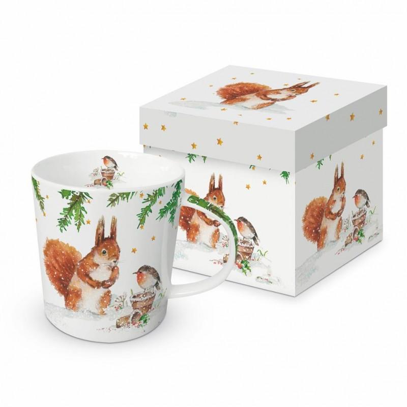 Meubles Patines et Objets, savoie Bassens 73, Mug tasse déco écureuil rouge-gorge avec boîte cadeau
