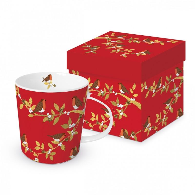 Meubles Patines et Objets, savoie Bassens 73,  Mug tasse rouge déco branches et oiseau avec boîte cadeau