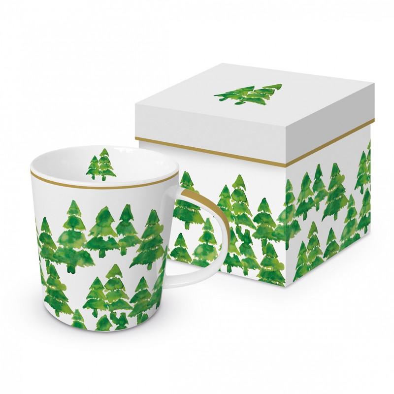 Meubles Patines et Objets, savoie Bassens 73, mug tasse déco sapins verts avec boîte cadeau