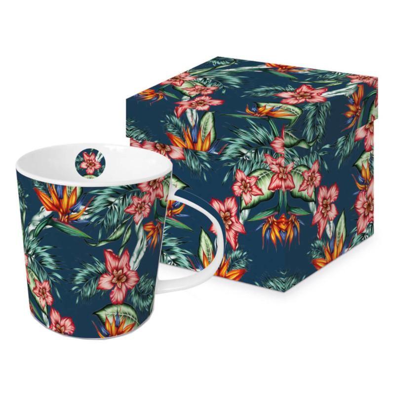 Meubles Patines et Objets, savoie Bassens 73, Mug tasse noire déco fleurs avec boîte cadeau