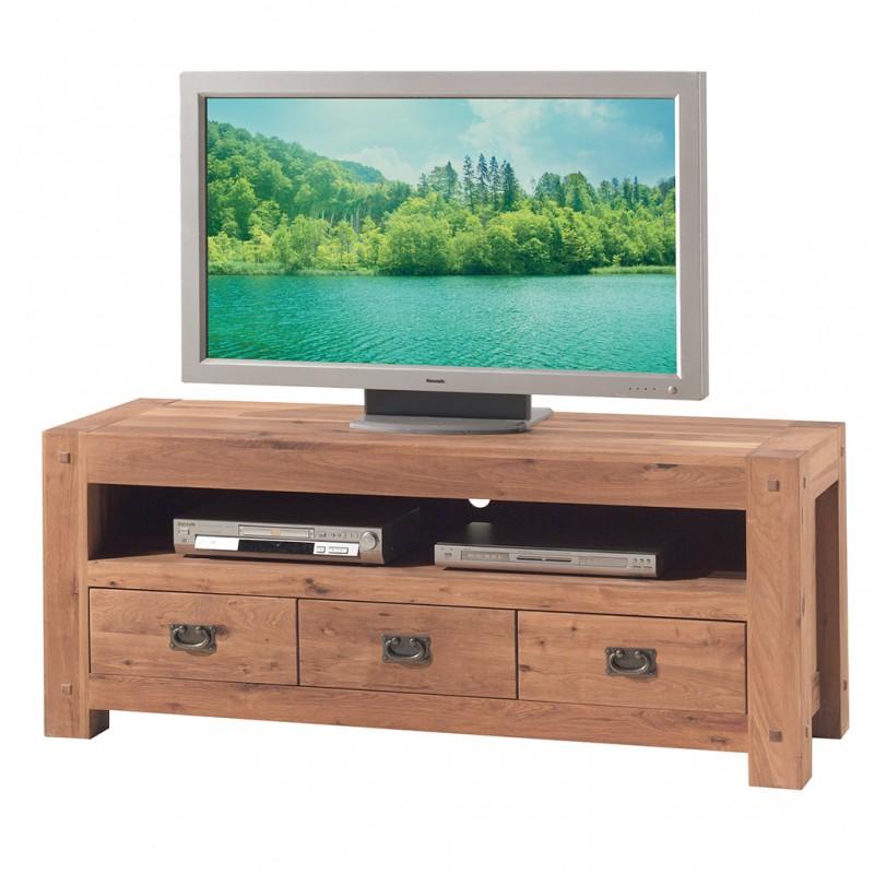 Meubles Patines et Objets, savoie Bassens 73, meuble TV  bois chêne 3 tiroirs