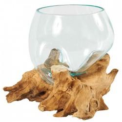 Vase en verre moulé sur...