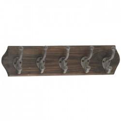 Patère en bois 5 crochet métal