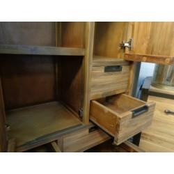 Meubles Patines et Objets, savoie Bassens 73, Armoire 3 portes 6 tiroirs industriel zoom tiroirs