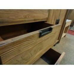 Meubles Patines et Objets, savoie Bassens 73, bahut 4 portes 3 tiroirs bois et fer tiroir ouvert