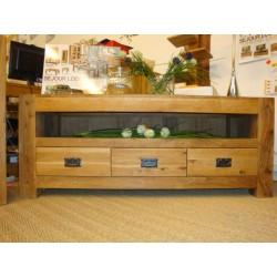 Meubles Patines et Objets, savoie Bassens 73, meuble TV  bois chêne 3 tiroirs en situation