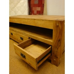 Meubles Patines et Objets, savoie Bassens 73, meuble TV  bois chêne 3 tiroirs avec rails et poignées métal