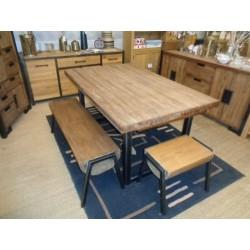 Meubles Patines et Objets, savoie Bassens 73, table repas bois et fer 1.60m avec allonges dans une cuisine