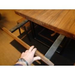 Meubles Patines et Objets, savoie Bassens 73, table repas bois et fer 1.60m avec allonges zoom sur allonge