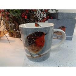 Meubles Patines et Objets, savoie Bassens 73, Mug tasse déco rouge-gorge avec boîte cadeau autre vue