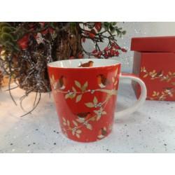 Mug tasse rouge déco branches et oiseau avec boîte cadeau autre profil