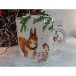 Meubles Patines et Objets, savoie Bassens 73, Mug tasse déco écureuil rouge-gorge avec boîte cadeau autre vue